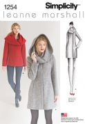 1254 Simplicity Pattern: Misses' Leanne Marshall Easy Lined Coat or Jacket